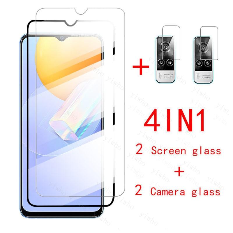 Защитное стекло 4 в 1 для Vivo Y31, защита экрана, закаленное стекло для VivoY31 Vi vo Y 31 31Y, Защитная пленка для объектива камеры 6,58 дюйма