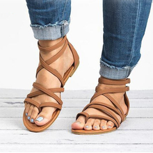 цены Women Sandals Rome Style Summer Shoes Woman Gladiator Sandals With Zip Flip Flop Female Flat Sandals Lady Beach Sandalias Mujer