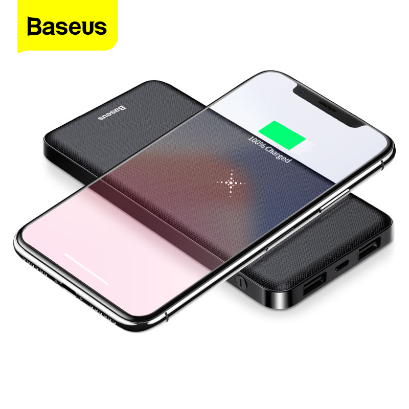 Baseus Portable Qi Wireless Charger Power Bank 10000mAh External Battery 10000 MAh Powerbank For Xiaomi Mi 9 IPhone 11 Pro Max