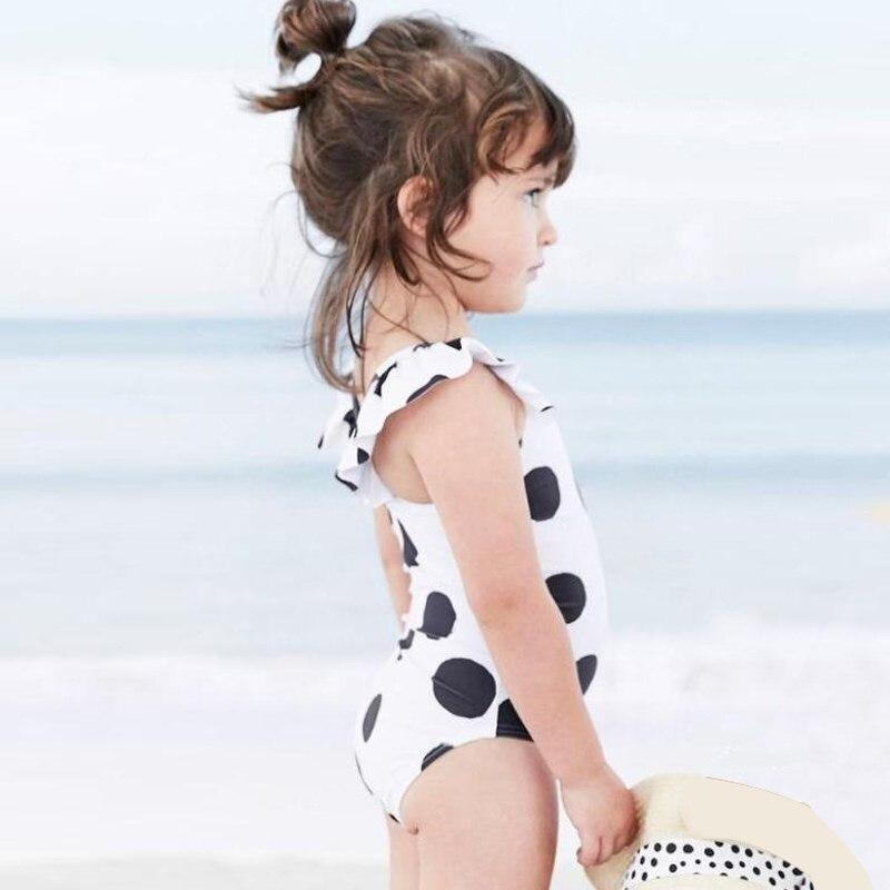 New Model 1-8 Y Kid Girls One Piece Swimsuit Baby Swimwear White & Dot Pattern Child Bathing Suit Children Suits