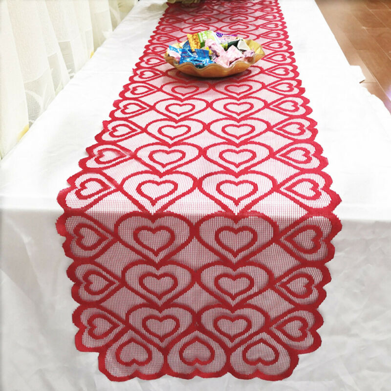 40x180 Cm Lace Heart Printed Christmas Table Runner Tablecloth Wedding Party Banquet Home Decoration Modern Home Textile