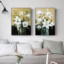 Скандинавский стиль ботаническая живопись зеленые и белые цветы