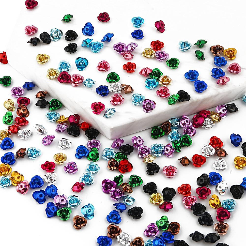 100 шт 6/8/12 мм алюминиевый 3D розы Свадебная вечеринка творчество, рукоделие, декор разноцветные бусины домашний декор DIY Швейные материалы