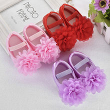 Fashion Soft bottom toddler shoes Toddler Kid Baby Girl Shoes Chiffon Flower Elastic Band Newborn Walking Shoes Y917(China)