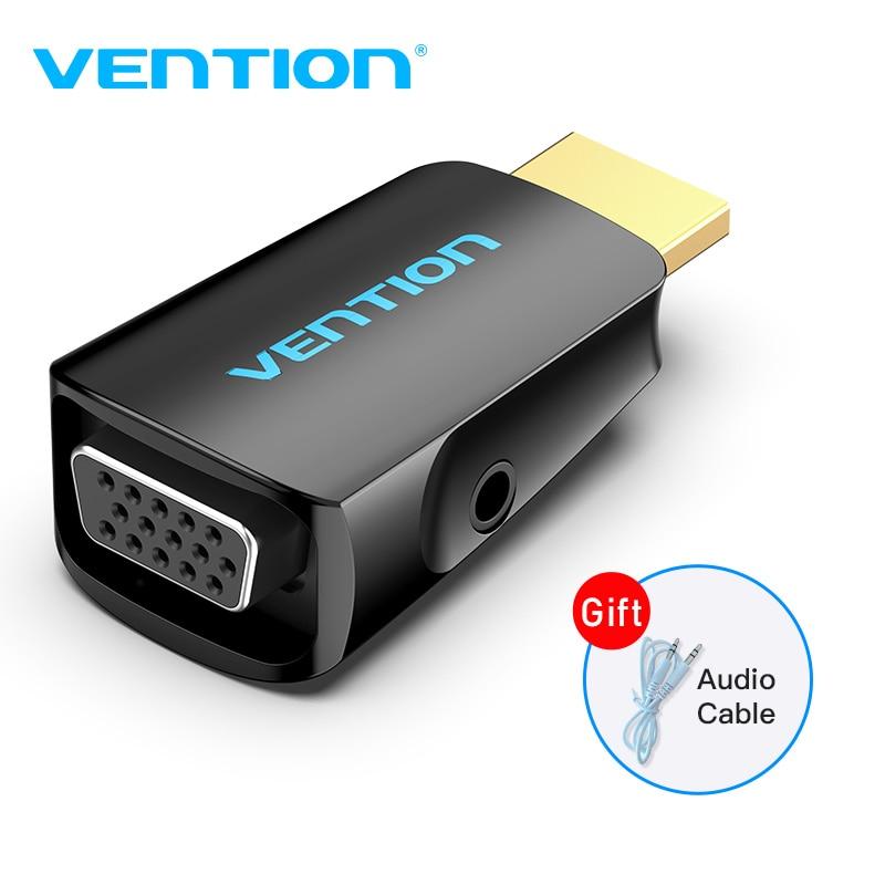 Vention convertidor de HDMI a VGA 1080P HDMI macho a VGA hembra con adaptador de Audio para PS4 Laptop TV Box proyector VGA HDMI adaptador