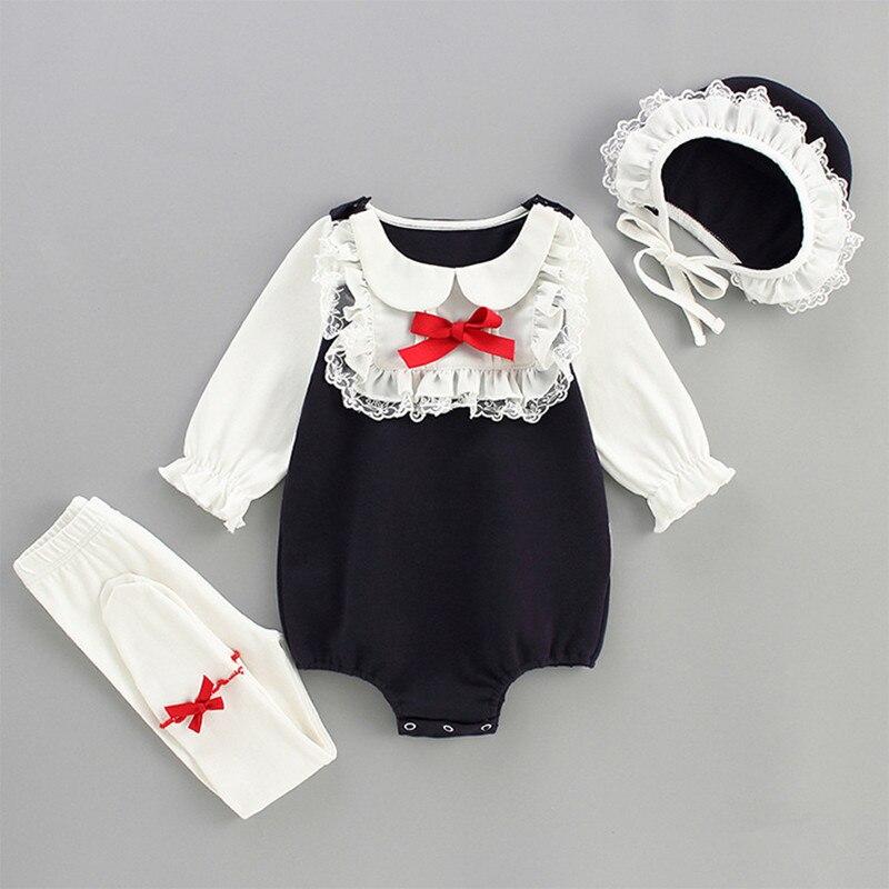 0-24 m bebê meninas macacão + apertado + chapéu primavera peter pan colarinho infantil da criança do bebê meninas roupas sunsuit conjunto