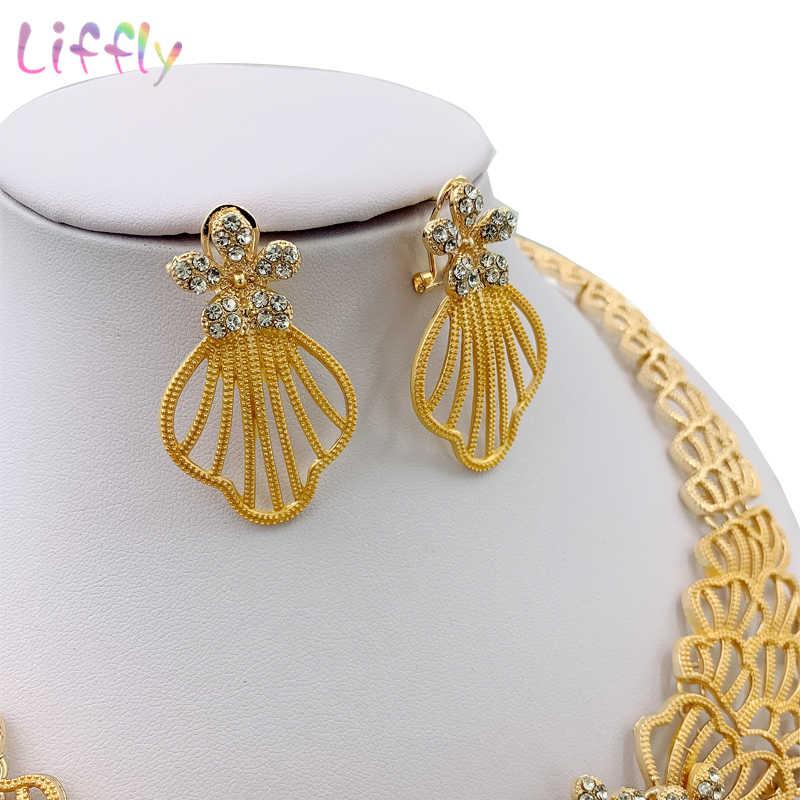 Liffly Afrikanische Hochzeit Schmuck Sets Mode Halskette Ohrringe Ring Armband Kristall Schmuck Charms Blume Form Schmuck Set