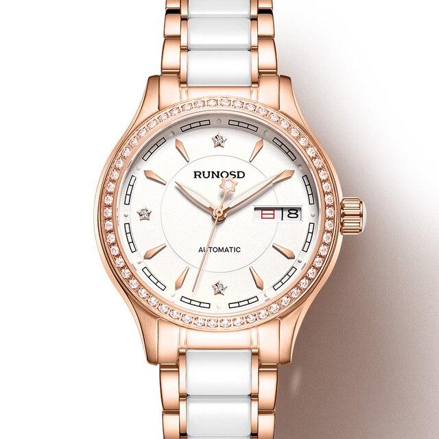 RUNOSDLadies Watch Luxury Rose Gold Zircon Day Calendar miyota Mechanical Movement Sapphire Crystal Stainless Steel 8157LS 1
