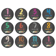 12 Pcs/Set Floral Baby Monthly Stickers Memory Recording Milestone Stickers Months Cards Skills Cards Memorial Stickers