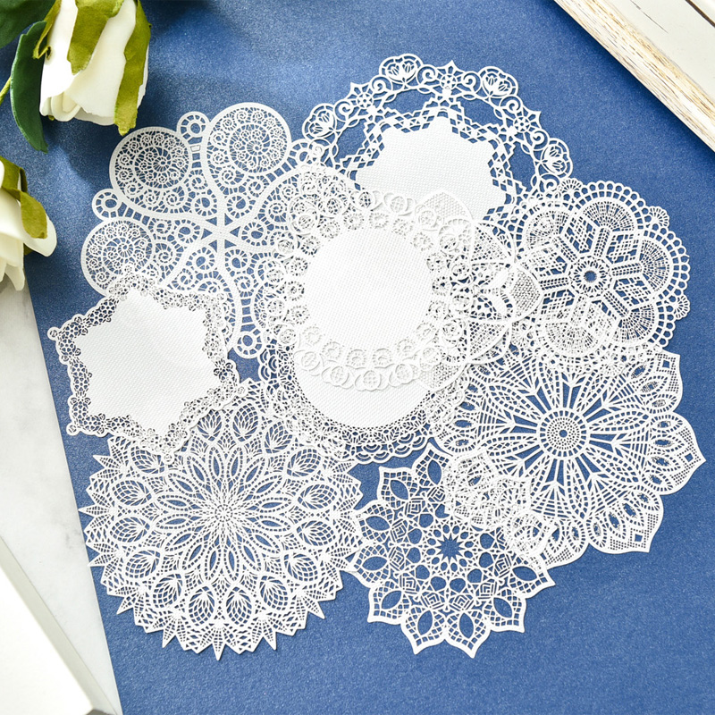 KSCRAFT White Lace Paper Doilies/Placemats For Wedding Party Decoration Supplies Scrapbooking Paper Crafts