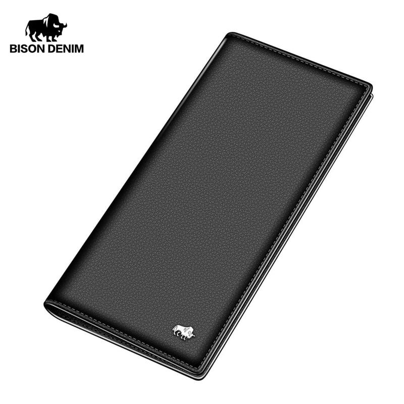 BISON DENIM Long Purse Bag Wallet Business Men's Thin Genuine Leather Wallet Luxury Brand Design Handy Slim Male Wallet N4470-1