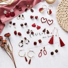 2020 Korea Earrings Red Enamel Geometric Round Heart Triangle Metal Drop for Women Girl Wedding Jewelry