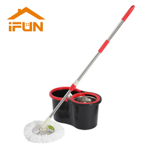 iFun Spin Mop&Bucket  Double drive  with 2 microfiber mop heads  Floor Cleaning System  Easy wring Metal handle