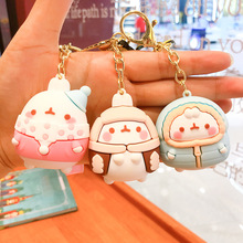 2021 New Keychains For Men Women Molang Rabbit Korean Cute Cartoon Rubber Fashion Key Chains Lovers Bag Car Pendant PVC Key Ring