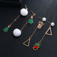 цены Christmas Tree Enamel Tassel Long Dangle Earrings Women Geometric Hairball Pendant Piercing Drop Earrings Christmas Jewelry