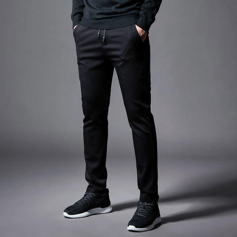On Sale 2019 Autumn Men Casual Pants High Quality Elastic Waist Cotton Pants Men With Pockets Black Size 29 To 38 J9517-78459-A