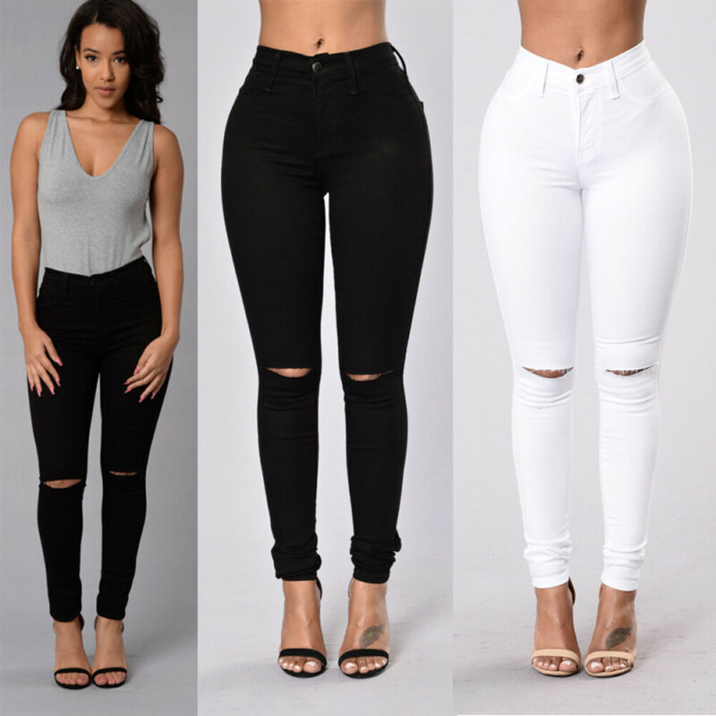 Goocheer Women Vintage Destroyed Ripped Jeans High Waist Skinny Denim Long Pants Hole Boyfriend Jeans Solid Pencil Trousers