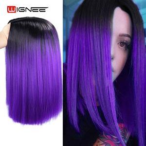 Image 3 - Wignee 2 Tông Màu Ombre Tím Tổng Hợp Tóc Giả Dành Cho Nữ Giữa Một Phần Ngắn Thẳng Tóc Nhiệt Độ Cao Cosplay Hàng Ngày Tóc tóc Giả