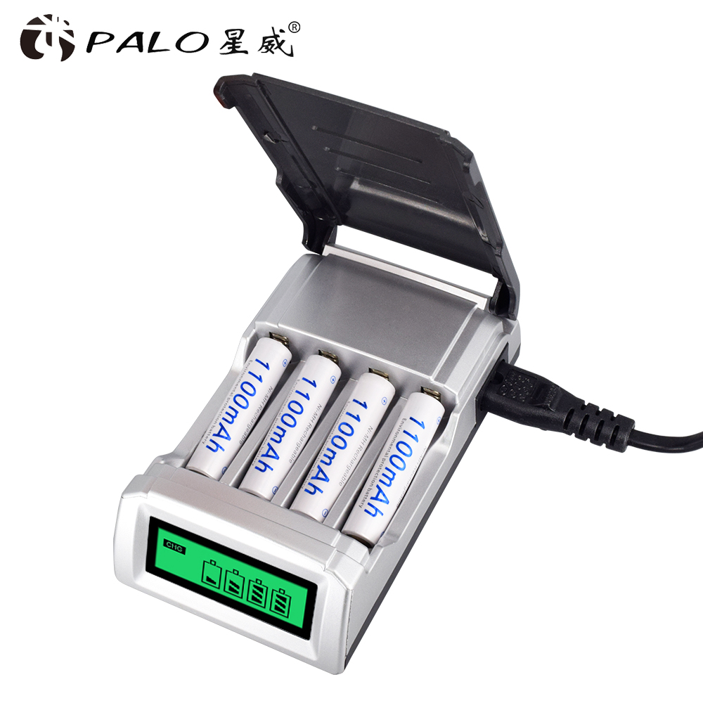 AA / AAA 4 slots fast smart battery charger LCD display screen for rechargeable AA 2A / AAA 3A NiCd NiMh batteries