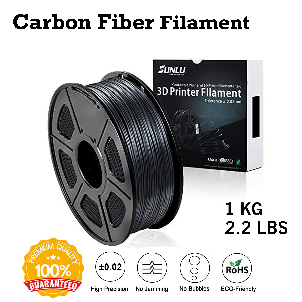 SUNLU, filamento de impresora 3D de fibra de carbono PLA, 1,75mm, envío rápido, nuevo filamento de impresión 3D, 1KG, bajo olor, dimensión, 0,02mm, 3d, Niña KIT de actualización PLA 2,0 Asistente de estacionamiento frontal 4K a 12K para VW Tiguan 5N 3AA 919 475 M/S