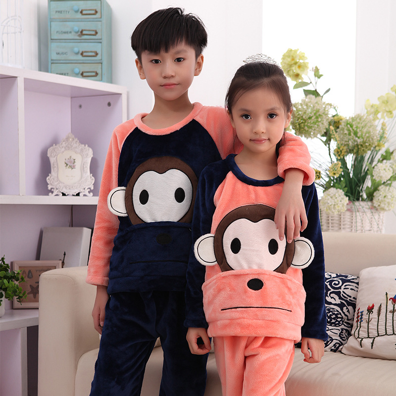 Children Coral Velvet Pajamas Boy Autumn & Winter Thick Big Boy Baby Kids BOY'S Flannel Tracksuit
