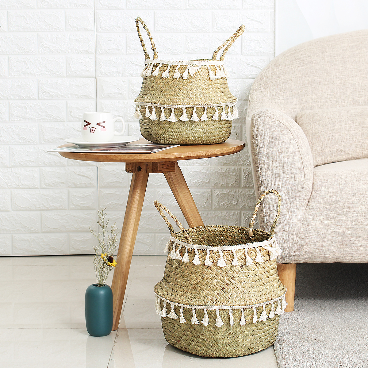 Handmade Bamboo Storage Baskets Seagrass Wicker Basket Garden Flower Pot Laundry Basket Container Toy Holder with White Tassel
