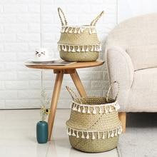 Canastos de almacenaje de bambú hechos a mano canasta de mimbre para el jardín cesta para la colada con flecos blancos