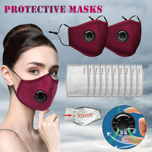 2PCS Anti-dust Black Mouth Facemask with 10pcs Filters Unisex Cotton Face Topmask Cycling Mouth-muffle Mascarillas Health Care(China)