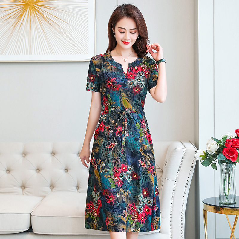 Plus Size XL-6XL 2020 New Women Summer Long Dress Slim Flowers Print Dress Women High Quality V-Neck Short Sleeve Casual Dress 2