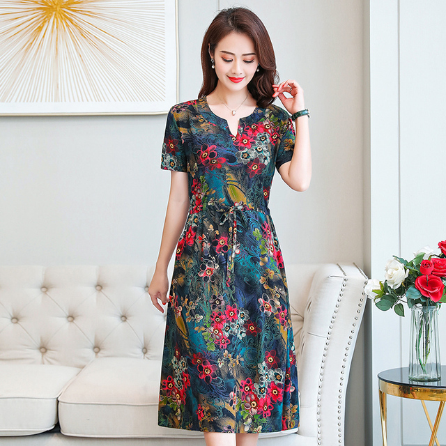 Plus Size XL-6XL 2020 New Women Summer Long Dress Slim Flowers Print Dress Women High Quality V-Neck Short Sleeve Casual Dress 2