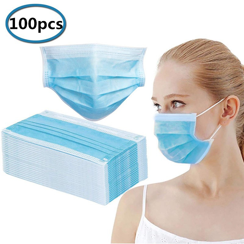 100PCS Disposable Three-layer Non-woven Dust Mask Respirator Windproof And Respirable Disposable Mask