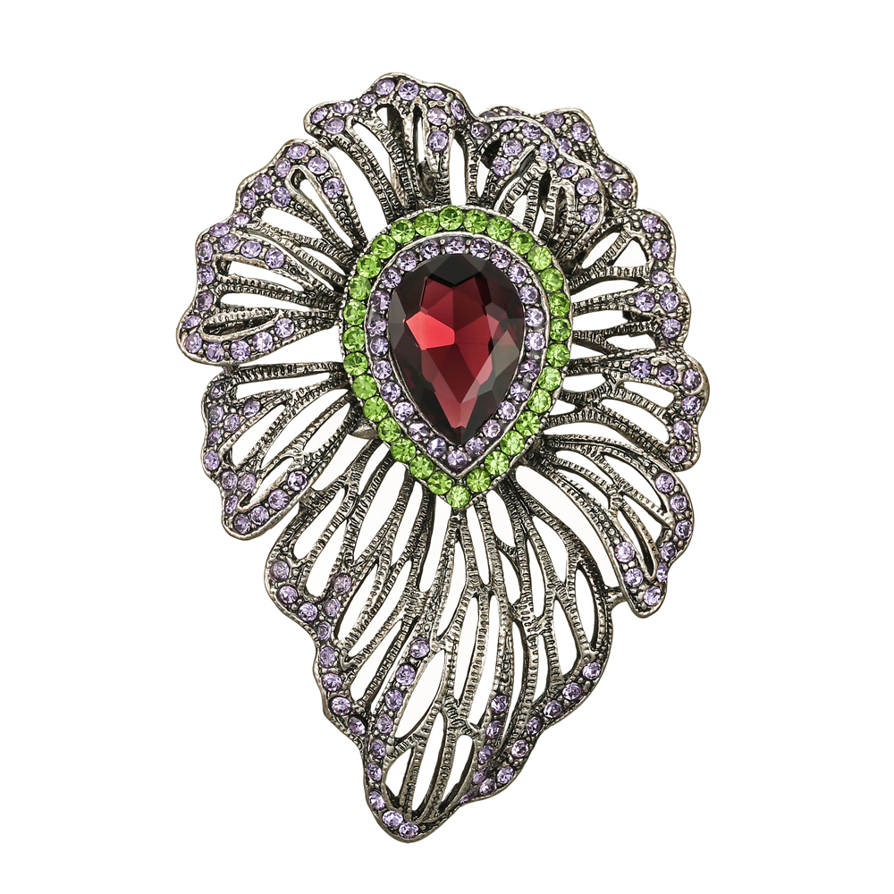 Luxury Vintage Style Hollow Purple Zircon Bouquet Bridal Wedding Brooch Pin