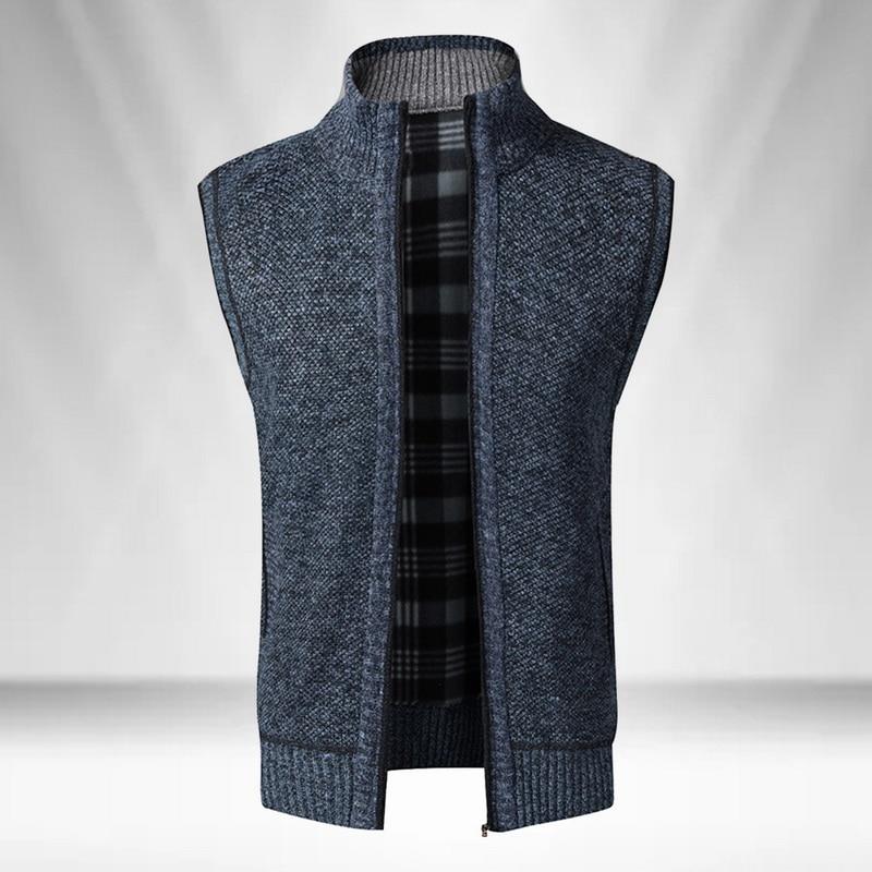 2020 Men Sweater Coat Sleeveless Zip Up Cardigan Men Knitted Vest Vintage Stand Collar Sweater Jacket Plaid Knitwear Waistcoat