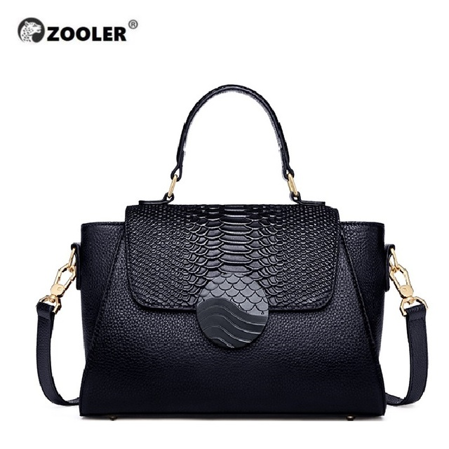 ZOOLER Luxury Brand Designer genuine leather Woman bags Hand Bags Totally Black handbags Elegant Soft Cow Leather bolsos mujer