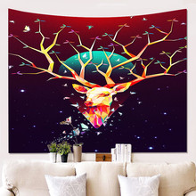 Creative 3D Printing Cute Deer Pattern Tapestry Wall Hanging For Home Decoration Living Room Bedroom Wall Art Large size недорого