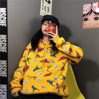 QoerliN Hoodies Sweatshirt Frau Lose Beiläufige Coupon Sweatshirts Front Tasche Pullover Gedruckt Dinosaurier Bluzy