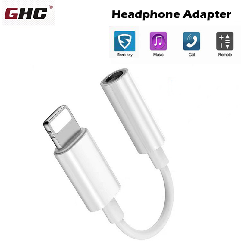GHC Headphone Adapters For Lightning To 3.5mm Jack Cable AUX Audio Headphone Converter For Iphone 7 8 X XS Adapter Cables