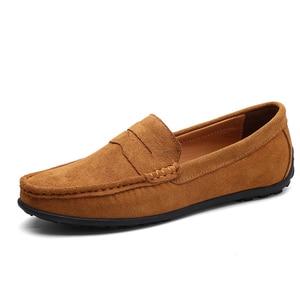 Image 5 - Üzerinde kayma erkek loaferlar deri süet ayakkabı erkekler rahat moccasins Hombre mokasen tekne ayakkabı mokasen adam sürüş yaz Loffers beyaz 47