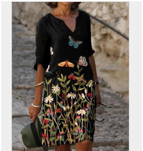 Lady shift vestido na altura do joelho vestido-meia manga floral cor bloco verão queda v pescoço casual quente bodycon vestuário roupas sexy