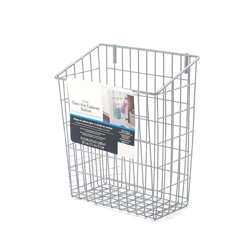 Metal Wire Hanging Over Door Kitchen Storage Organizer Basket Trash Can Hangs Over Cabinet Doors For Bags Ect Kitchen Tools