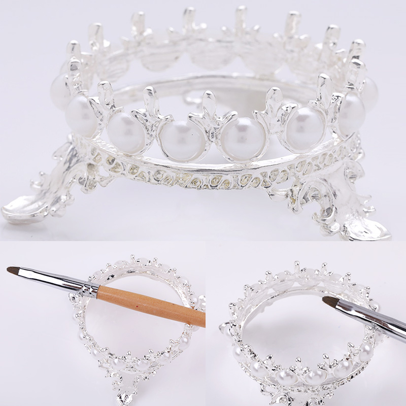 Nail Brushes Pen Holder Stand Portable Nails Carving Drawing Painting Pen Display Nail Art Tools Gold Silver Crown Decor