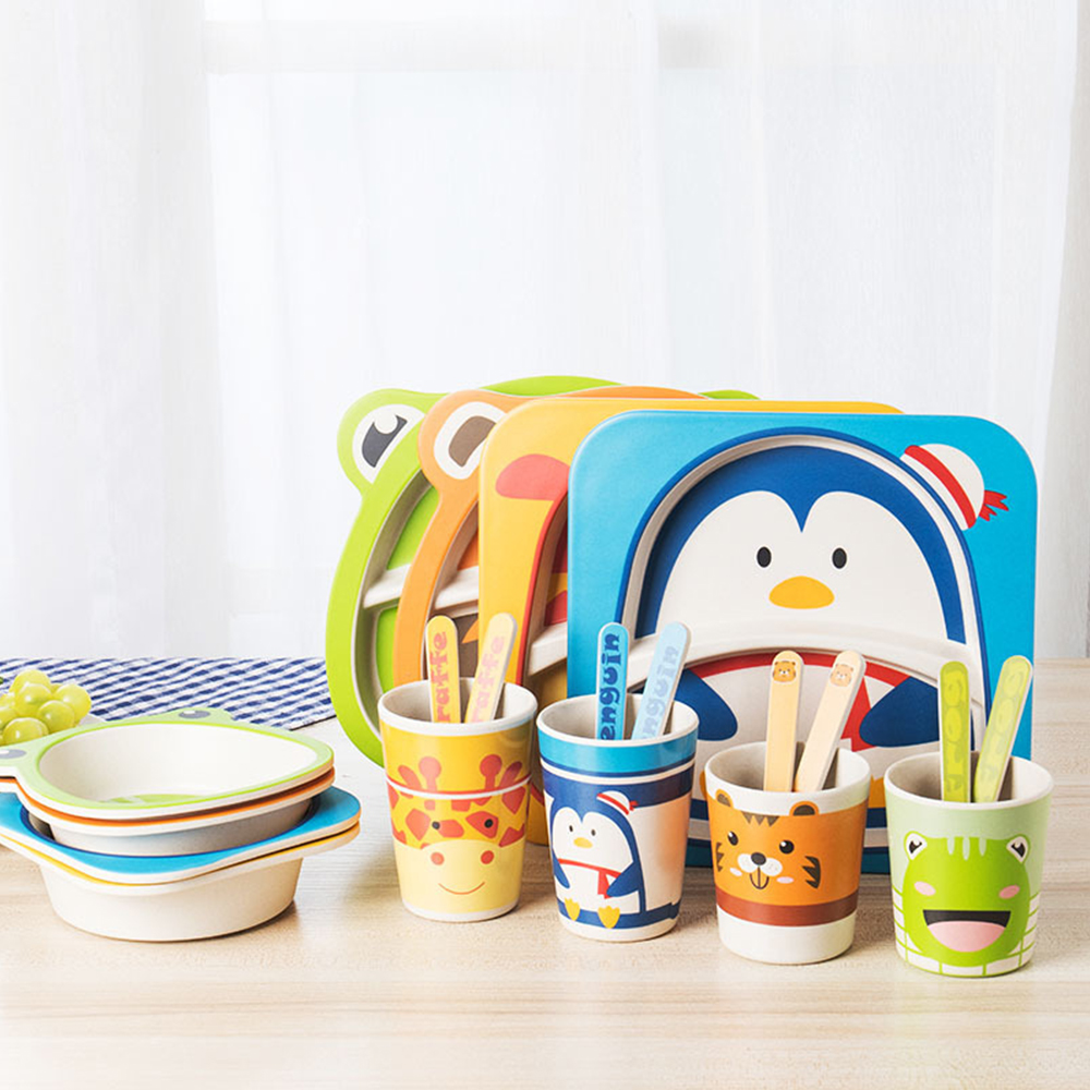 5Pcs/Set Bamboo Tableware Baby Dishes Children Cartoon Feeding Dishes Kids Natural Bamboo Fiber Dinnerware With Bowl Fork Cup