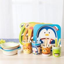 5Pcs/Set Bamboo Tableware Baby Dishes Children Cartoon Feedi