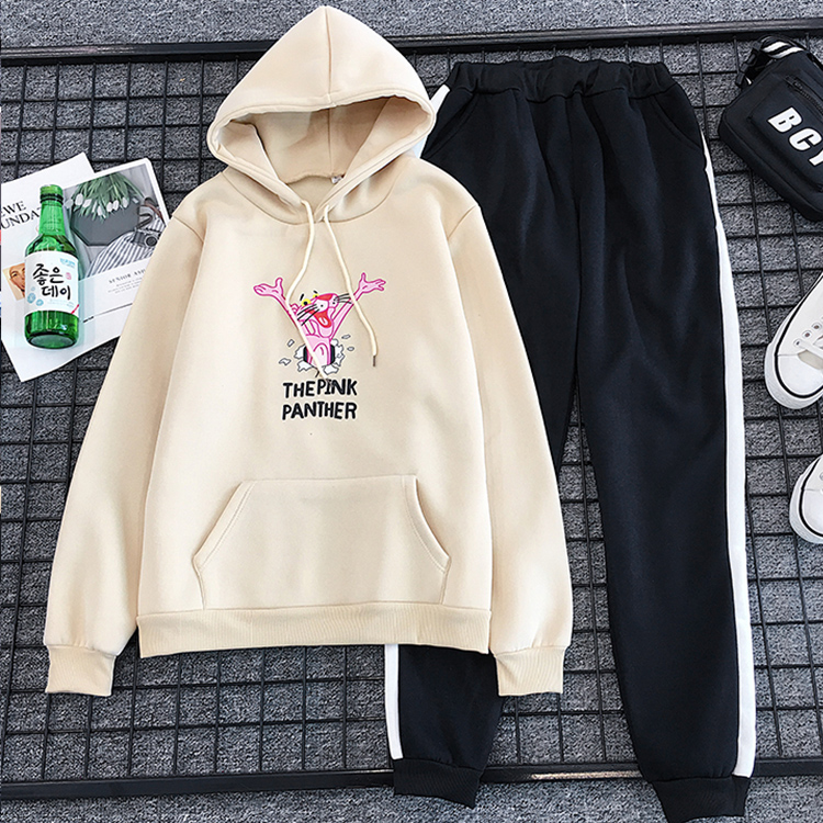Milinsus Autumn Women Tracksuits Outfits Cute Cartoon Pink Panther 2 Piece Set Long Sleeve Kawaii Top+Pants 2019 Winter Clothes
