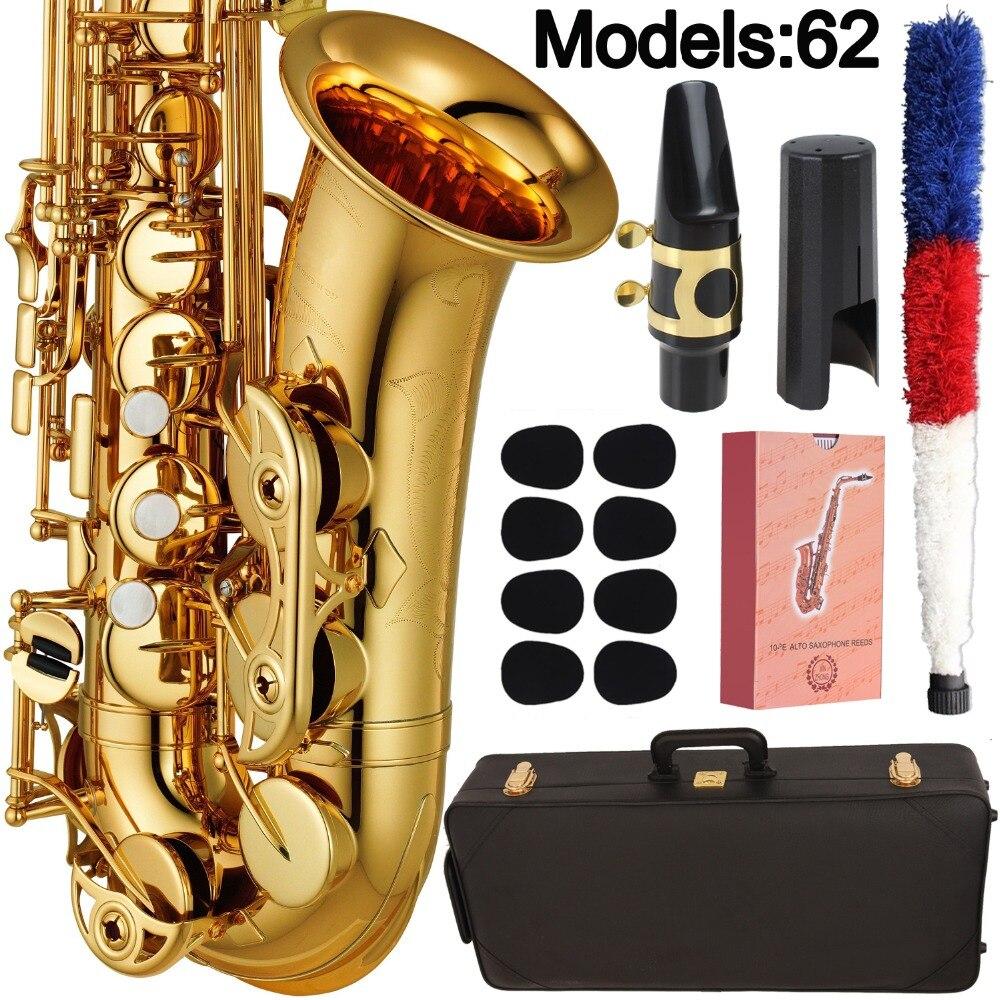 Новый японский Саксофон альт 62 Профессиональный альт саксофон на заказ серия высокий саксофон золотой лак с мундштуком трости шеи чехол