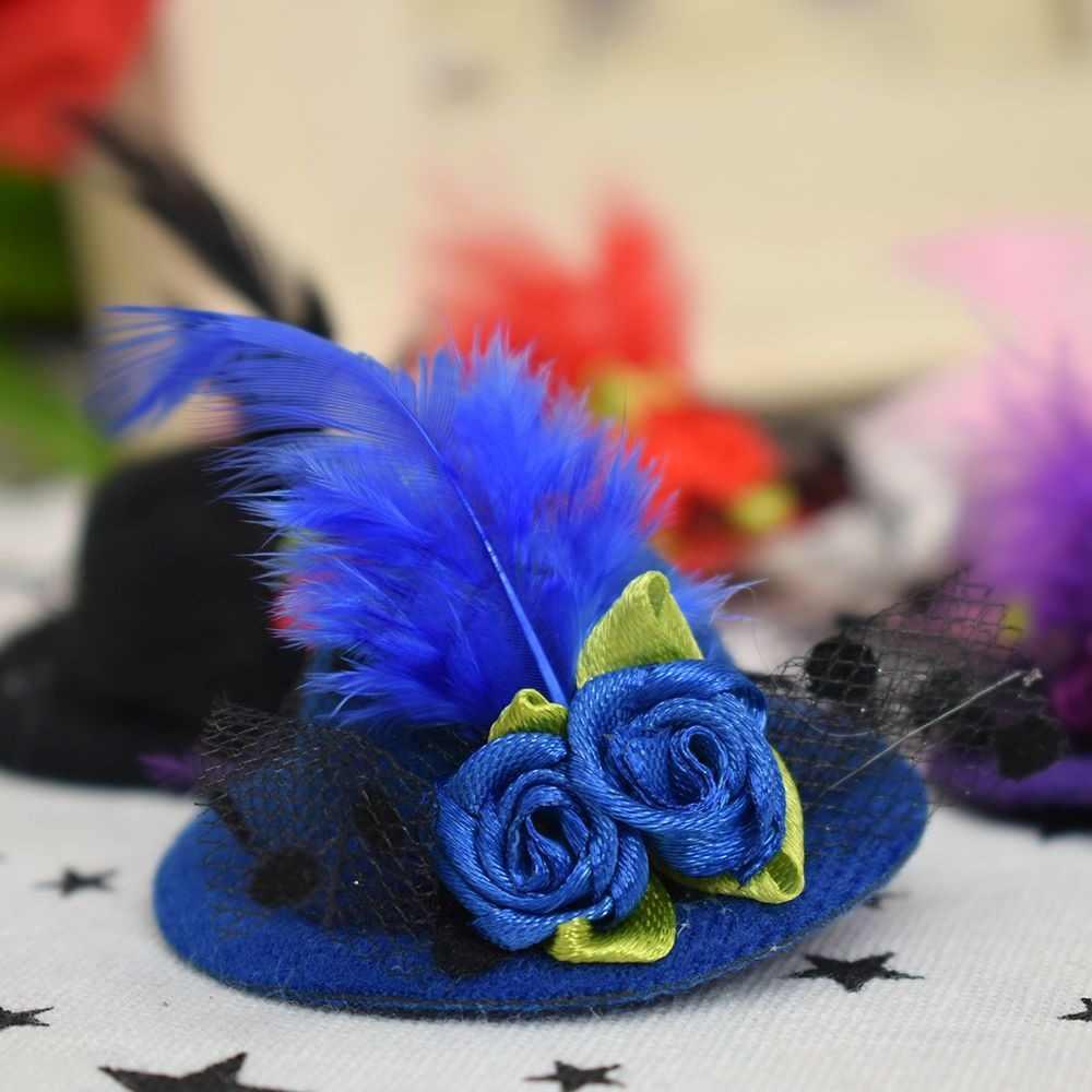 닦았 더블 꽃 작은 모자 모양 헤어 클립 깃털 머리핀 어린이 소녀 무대 공연 축제 헤어 액세서리