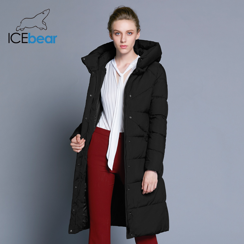 ICEbear 2019 New High Quality Women's Winter Jacket Simple Cuff Design Windproof  Warm Female Coats Fashion Brand Parka GWD18150