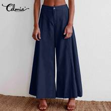 2020 Spring High Waist Pants Celmia Women Elegant Work Office Casual Long Trousers Denim Palazzo Wide Leg Pants Pantalon Femme(China)