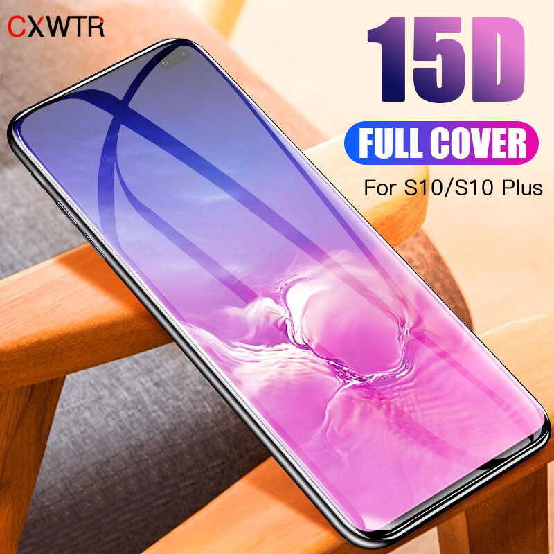 15D Full Curved Screen Tempered Glass For Samsung Galaxy S8 S9 S10 Plus S10E S7 S6 Edge Protector For Note 8 9 Protective Film image