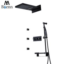 Black Rainfall Shower Set Hot and Cold Shower Faucets Wall Mounted Bathroom Waterfall Shower Heads Slide Bar Hand Hold Showers high quality black shower sliding bar wall mounted shower bar adjustable sliding rail set 3 function shower minimalist style